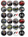 24 x Formula 1 edible rice wafer paper bun cup cake top toppers
